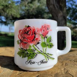 VTG June Rose flower milk glass mug